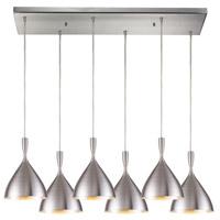 Decovio 13794-A6-2 Sharon 6 Light 9 inch Aluminum Mini Pendant Ceiling Light Rectangular