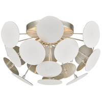 Decovio 13843-MWI4 Walker 4 Light 18 inch Matte White with Silver Leaf Flush Mount Ceiling Light