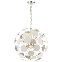 Decovio 13844-MWI6 Walker 6 Light 21 inch Matte White with Silver Leaf Pendant Ceiling Light