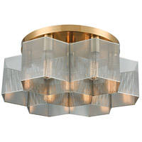 Decovio 13883-SBI7 Arcadia 7 Light 19 inch Satin Brass with Polished Nickel Semi Flush Mount Ceiling Light