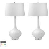 Decovio 16913-WL2-2 Minden 32 inch 60 watt White Table Lamp Portable Light Set of 2
