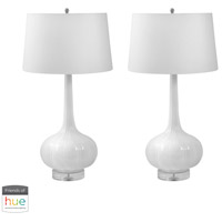 Decovio 16913-WL2-3 Minden 32 inch 60 watt White Table Lamp Portable Light, Set of 2 photo thumbnail