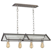 Decovio 14062-PNS4 Cuba 4 Light 13 inch Polished Nickel with Weathered Zinc Chandelier Ceiling Light