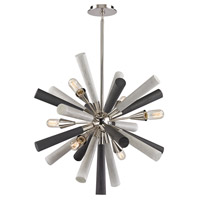 Decovio 14088-GW6 Kings 6 Light 28 inch Grey Washed Wood Tone with Polished Nickel Chandelier Ceiling Light