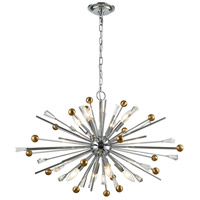 Decovio 14191-PC8 Clinton 8 Light 32 inch Polished Chrome with Satin Brass Pendant Ceiling Light