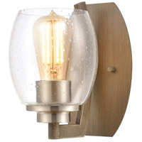 Decovio 14334-LWSI1 Armstrong 1 Light 5 inch Light Wood with Satin Nickel Sconce Wall Light