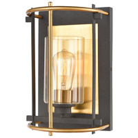 Decovio 14379-CWCI1 Coraopolis 1 Light 8 inch Charcoal with Brushed Brass Sconce Wall Light