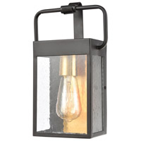 Decovio 14383-MBSI1 Forty Fort 1 Light 12 inch Matte Black with Brushed Brass Outdoor Sconce