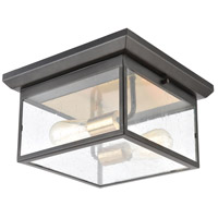 Decovio 14386-MBSI2 Forty Fort 2 Light 12 inch Matte Black with Brushed Brass Outdoor Flush Mount