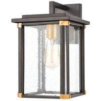 Decovio 14388-MBSI1 Gettysburg 1 Light 14 inch Matte Black with Brushed Brass Outdoor Sconce