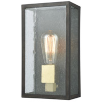 Decovio 14394-BBS1 Solvay 1 Light 11 inch Blackened Bronze with Brushed Brass Outdoor Sconce