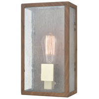Decovio 14396-DWS1 Solvay 1 Light 11 inch Dark Wood Print with Brushed Brass Outdoor Sconce