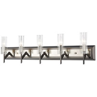 Decovio 14457-BNRRCI5 Patterson 5 Light 35 inch Black Nickel with Polished Nickel Vanity Light Wall Light