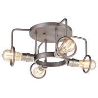Decovio 14523-WZI4 Holley 4 Light 16 inch Weathered Zinc with Satin Nickel Semi Flush Mount Ceiling Light