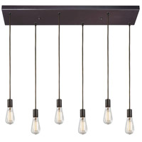 Decovio 14562-OB6-2 Greece 6 Light 9 inch Oiled Bronze Mini Pendant Ceiling Light, Rectangular