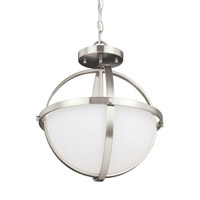 Decovio 16814-BNEW2 Smithtown 2 Light 14 inch Brushed Nickel Semi-Flush Convertible Pendant Ceiling Light