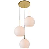 Decovio 12707-BI3-2 Huntington 3 Light 20 inch Brass Pendant Ceiling Light