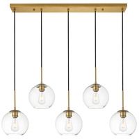 Decovio 12716-BI5-2 Huntington 5 Light 8 inch Brass Pendant Ceiling Light photo thumbnail