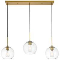 Decovio 12724-BI3-2 Huntington 3 Light 8 inch Brass Pendant Ceiling Light