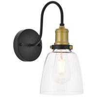 Decovio 12799-BB1 Aspinwall 1 Light 6 inch Brass and Black Wall Sconce Wall Light