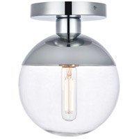 Decovio 12897-CI1 Oyster Bay 1 Light 8 inch Chrome Flush Mount Ceiling Light