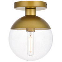 Decovio 12899-BI1 Oyster Bay 1 Light 8 inch Brass Flush Mount Ceiling Light