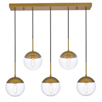 Decovio 12929-BI5 Oyster Bay 5 Light 8 inch Brass Pendant Ceiling Light