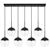 Decovio 12931-BI7 Oyster Bay 7 Light 8 inch Black Pendant Ceiling Light