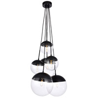 Decovio 12937-BI6 Oyster Bay 6 Light 28 inch Black Pendant Ceiling Light