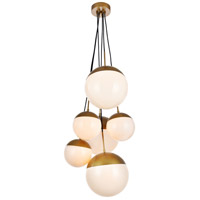 Decovio 12940-BI6 Oyster Bay 6 Light 28 inch Brass Pendant Ceiling Light