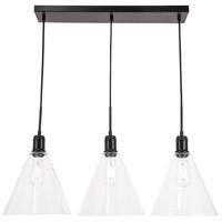 Decovio 13078-B3 Meadville 3 Light 10 inch Black Pendant Ceiling Light