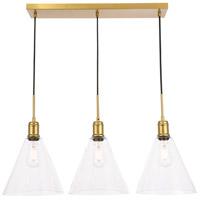 Decovio 13080-B3 Meadville 3 Light 10 inch Brass Pendant Ceiling Light