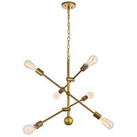 Decovio 13130-BI6 Newtown 6 Light 29 inch Brass Pendant Ceiling Light