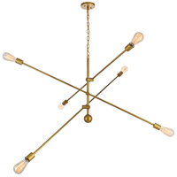 Decovio 13136-BI6 Newtown 6 Light 55 inch Brass Pendant Ceiling Light