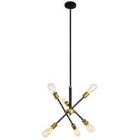 Decovio 13137-BBI6 Newtown 6 Light 17 inch Black and Brass Pendant Ceiling Light