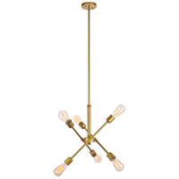 Decovio 13139-BI6 Newtown 6 Light 17 inch Brass Pendant Ceiling Light