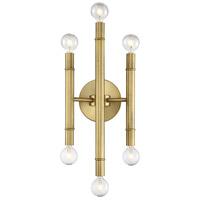Decovio 10083-NB6 Plum 6 Light 7 inch Natural Brass Wall Sconce Wall Light