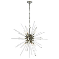 Decovio 17019-PN8 Hornellsville 8 Light 33 inch Polished Nickel and Clear Crystal Pendant Ceiling Light