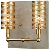 Decovio 17027-CWL2 Walnutport LED Concrete with New Aged Brass Wall Sconce Wall Light