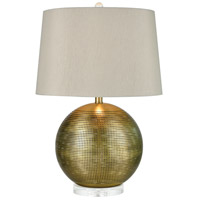 Decovio 17046-WAL1 Cleona 25 inch 150 watt Weathered Antique Brass with Clear Table Lamp Portable Light