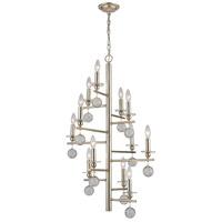 Decovio 17052-SLL12 Texas LED 25 inch Silver Leaf Chandelier Ceiling Light