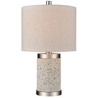Decovio 17083-GT1 Hounsfield 18 inch 60 watt Grey Terazzo with Polished Nickel Table Lamp Portable Light Short