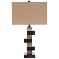 Decovio 10862-GR1 Weatherly 150 watt Dark Brown/Taupe/White/Camel Table Lighting Portable Light