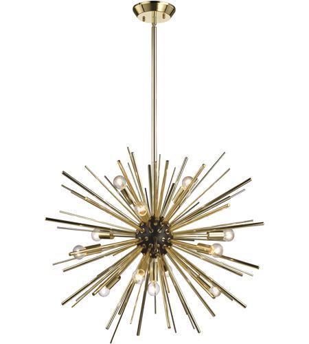Starburst 12 Light 27 Inch Oil Rubbed Bronze Polished Gold Chandelier Ceiling