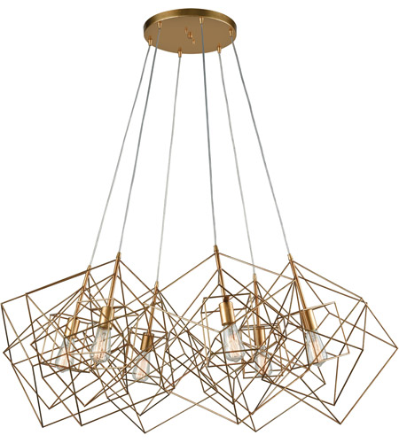 Dimond Lighting 1141-032 Box 6 Light 48 inch Gold Leaf Cluster Pendant Ceiling Light photo