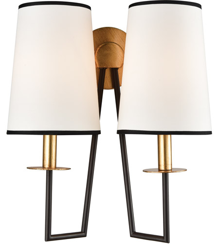 cheaper 3884a 3104a On Strand 2 Light 14 inch Oiled Bronze/Gold Leaf Sconce Wall Light