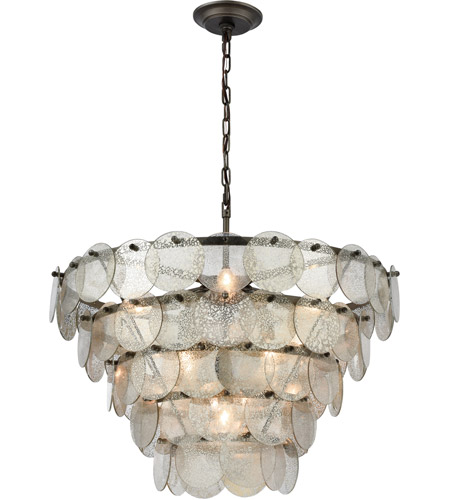 Dimond Lighting 1141-084 Airesse 9 Light 25 inch Brushed Slate/Mercury Glass Chandelier Ceiling Light photo