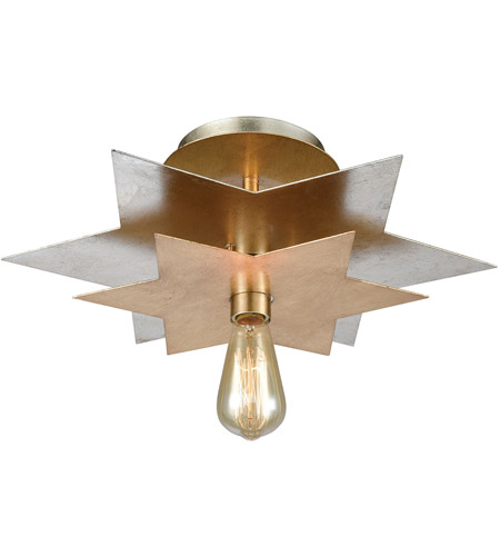 Dimond Lighting 1141-106 Stacked Stars 1 Light 19 inch Antique Gold Leaf with Silver Leaf Flush Mount Ceiling Light photo
