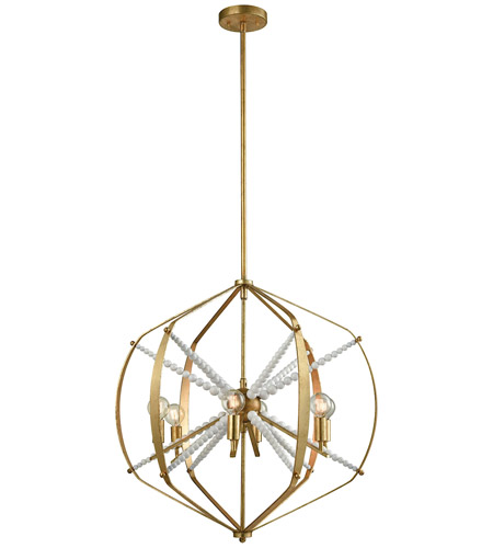 Dimond Lighting 1142-012 Mercury 6 Light 24 inch Antique Gold Leaf Chandelier Ceiling Light photo