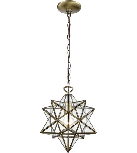 Dimond Lighting 1145-020 Moravian Star 1 Light 12 inch Antique Brass Mini Pendant Ceiling Light photo